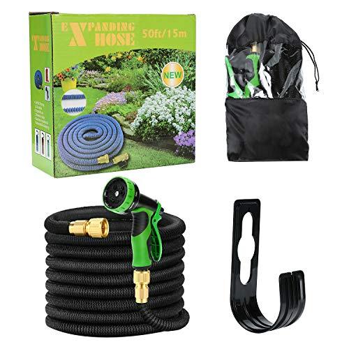 Uverbon Tubo da Giardino Estensibile 30M/ 100FT Tubo per Irrigazione Estensibile Connettore Solido Valvola di Spegnimento in Ottone 9 Funzioni Multiuso Ideale per Uso Giardinaggio e Lavare Auto