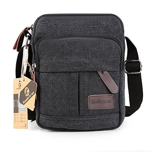 Koolertron Vintage Canvas Crossbody Shoulder Bag Lightweight Small Satchel Bag For Men & Women (Black, 6.88