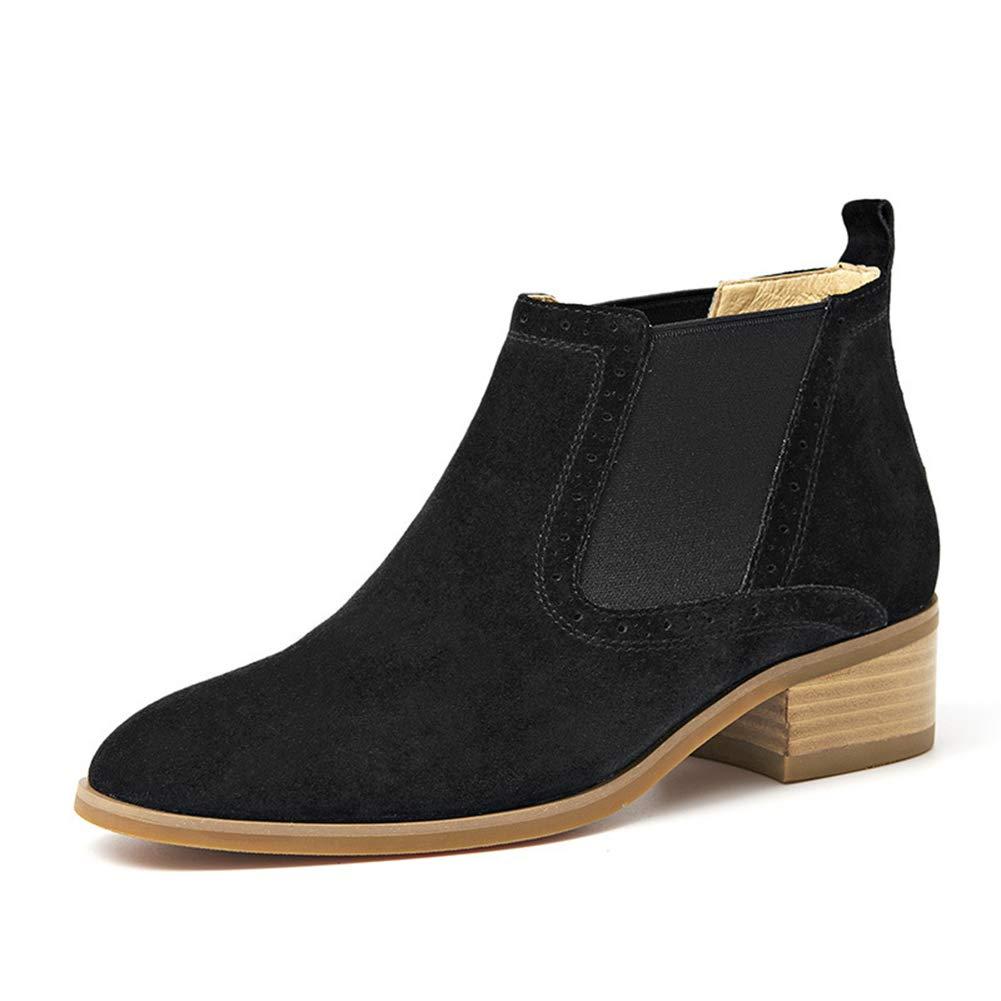 LEFT&RIGHT Frauen Elastische Stiefeletten Chelsea Stiefel Scrub Leder Low Heel Flache Stiefelies