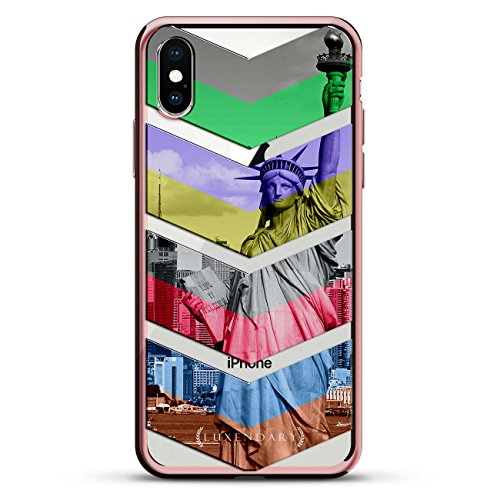 COLORFUL ARROWS POINTING DOWN | Luxendary Chrome Series designer case for iPhone X in Rose Gold trim