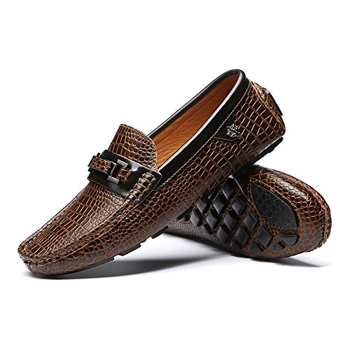 CFP 8899 Mens Slip-on Comfort Loafers Fitting Moccasins Smart Driver Flat Sneakers Brown UK Size 6.5 Xk0PM1cc