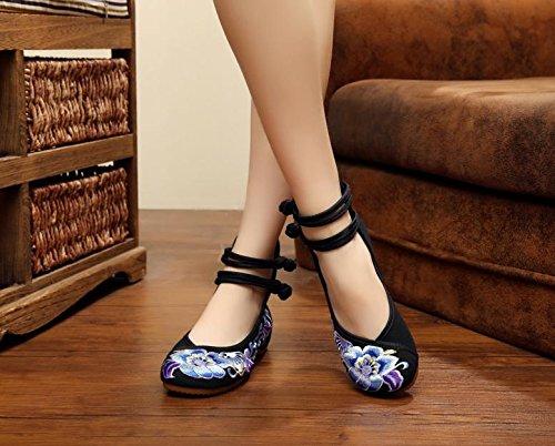 Black de inferior manera femaleshoes de parte Zapatos tendón bordados étnico estilo lona ocasionales suave del lenguado la cómodos WXT zapatos xH1Zq