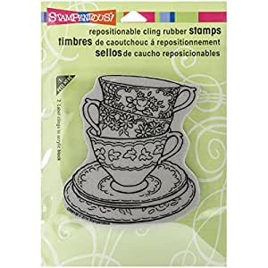 Stampendous cling rubber stamp teacup trio for Rubber stamps arts and crafts