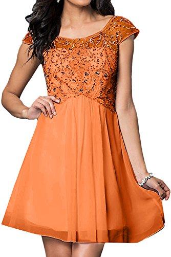 Steine Festkleider Abendkleid Ivydressing Aermeln Kurz Orange Damen Brautjungfernkleid xxY4I1