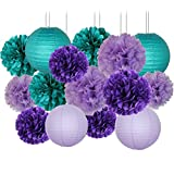 Mermaid Party Decorations/Under the Sea Party Teal Lavender Purple Tissue Paper Pom Poms Paper Lanterns for Birthday Decor Baby Shower Decoration