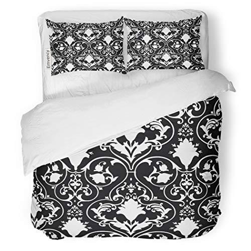 SanChic Duvet Cover Set Fleur Antique Scroll Lis Black White Damask Pattern Decorative Bedding Set with 2 Pillow Cases King Size