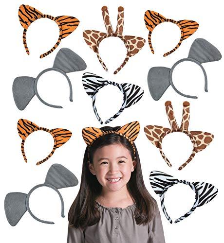 12 Plush Zoo Animal Headbands with Ears, Zebra Giraffe Elephant Tiger, Safari Theme Party Favor for Kids Boys and -