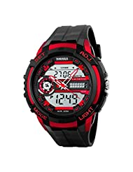 Lintimes Men's Analog Digital Multifunctional Sport Dual Time Wrist Watch Red