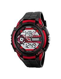 Lintimes Men's Analog Digital Multifunctional Sport Dual Time Wrist Watch Red