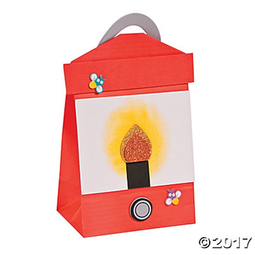 Set of 12 Red Paper Bag Lantern Foam Craft Project Fun Kits for Camp, VBS, Sunday School or Classroom
