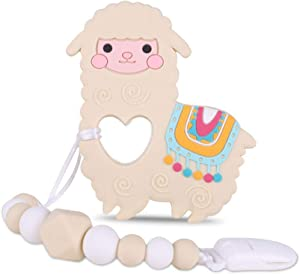 Baby Llama Teething Toys,BPA Free Food Grade Silicone Teether with Pacifier Clip,Highly Effective Pain Relief for Boy and Girl,Freezer Safe Teething Egg (Light Yellow)