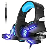 VersionTECH.Gaming headset for PS4 Xbox One PC, Over Ear Headphone with Mic, Lighting Effect & Noise Cancelling for 3DS Games Nintendo Switch Turtle Beach Laptop PC Mac Ipad Computer (Blue)