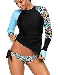 3ddf811faed Womens Long Sleeve Rashguard Shirt Color Block Print Tankini Swimsuit