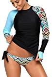 REKITA Womens Long Sleeve Rashguard Shirt Color Block Print Tankini Swimsuit Blue Medium