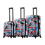 Mia Toro Love Collection Hard Side Spinner Luggage 3PC Set, Lcg, Love Collection Green