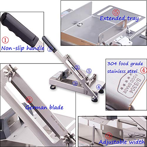 Manual frozen meat ctter slicer machine, 304 food stainless steel and German blade, cut vegetable kitchen products electric cheese bacon ham by GOSSOO (Image #6)