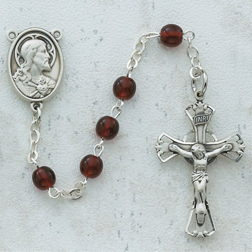 5MM Garnet Rosary Necklace Catholic Christian Religious Cross Crucifix (Religious Accessories)