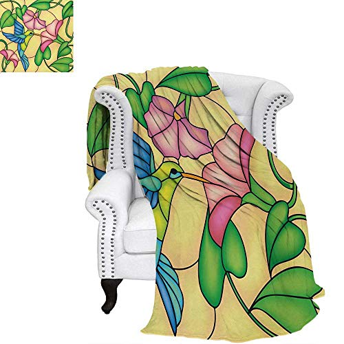 rd Warm Microfiber All Season Blanket for Bed or Couch Stained Glass Style Bird and Hibiscus Tropical Flora and Fauna Illustration Throw Blanket 50