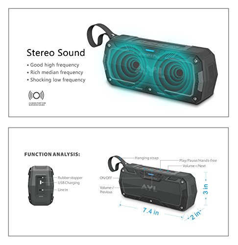 SoundFit Plus Water-Resistant Bluetooth Speaker - Portable Outdoor Wireless Sound System - Features Powerful Bass and Clear Treble - Hands-Free with Built-in Microphone - Dust and Shock Resistant by AYL (Image #5)