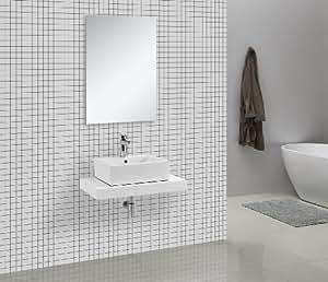 Cadena - Encimera para lavabo (75 x 50 cm), color blanco