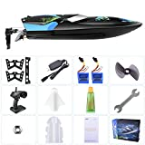 Waterproof Remote Control Boat for Pools & Lakes - kuman 25km/H High Speed rc Boats Toy for Kids & Adults (Blue)