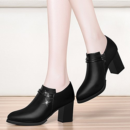 KHSKX-British Style Zapatos De Mujer Zapatos De Mujer Zapatos De Cuero Zapatos Zapatos De Tacon Alto British Viento De Otoño Del DineroBlackTreinta Y Cinco Forty