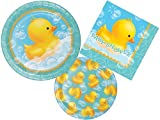 Rubber Ducky Bubble Bath Baby Shower Plates and Napkins Party Pack for 16