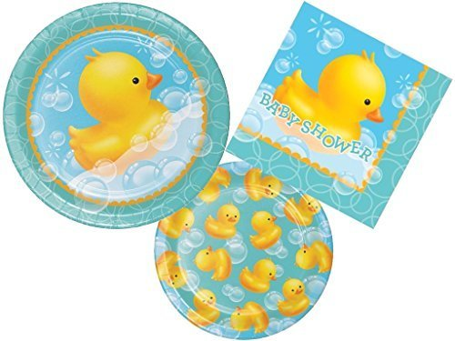 Rubber Ducky Bubble Bath Baby Shower Plates and Napkins Party Pack for 16 - Ducky Dessert Plates