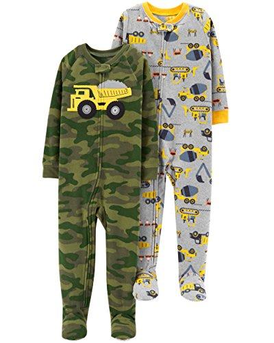 2-Pack Fleece Pajamas, camo/Construction, 12 Months ()