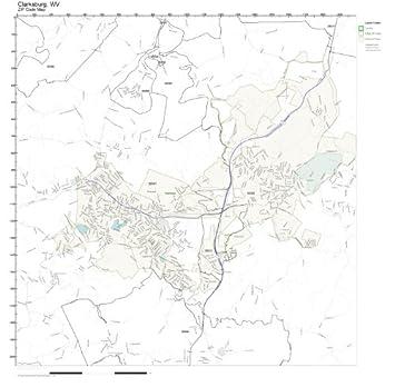 Amazon.com: ZIP Code Wall Map of Clarksburg, WV ZIP Code Map