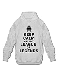 SHHY Men's Keep Calm And Play League Of Legends Long Sleeve Hoodie XX-Large Ash