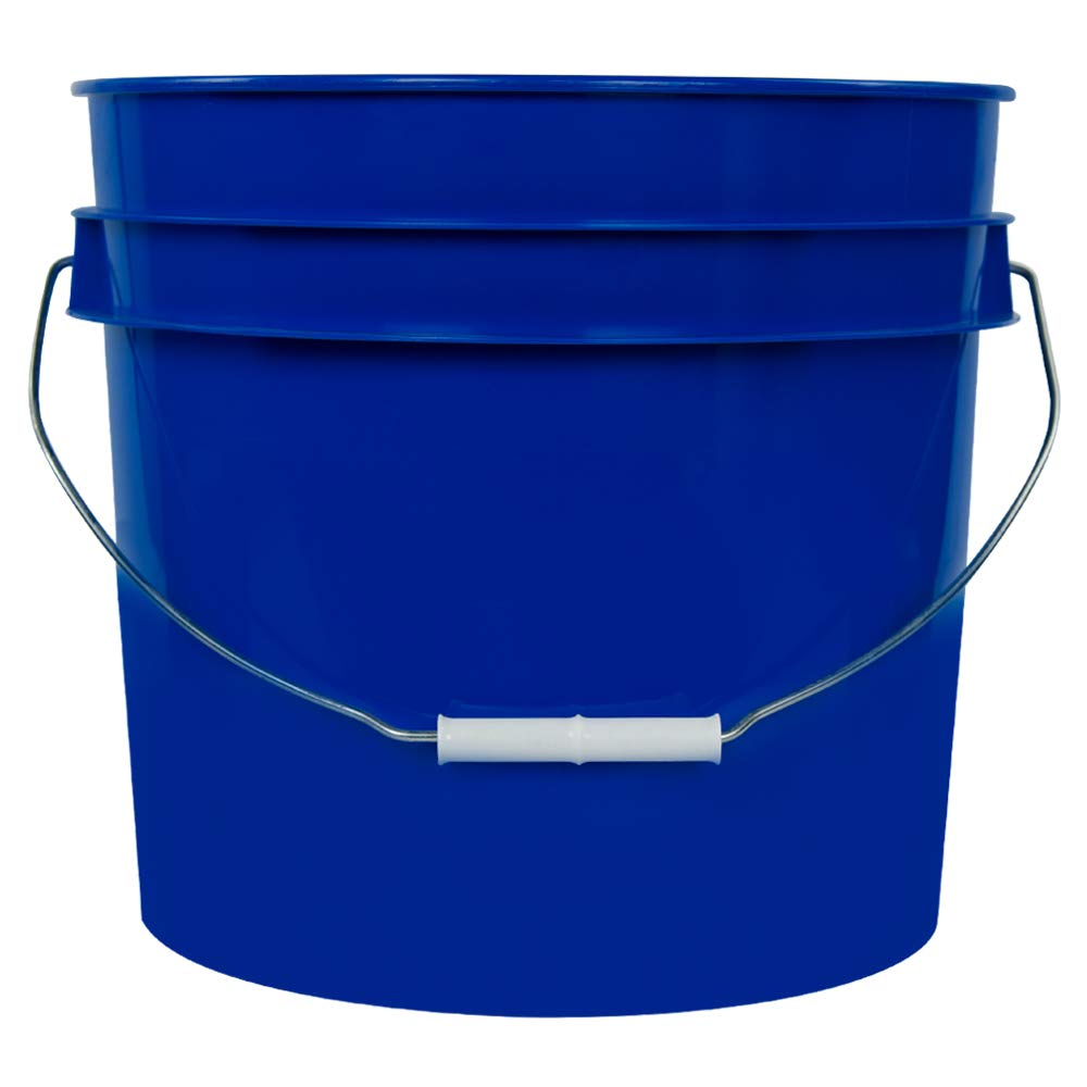 3.5 Gallon Blue White High Density Plastic Bucket with Pour Spout Lid (4 Buckets)