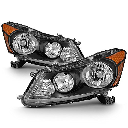 ACANII - For Black 2008-2012 Honda Accord 4-Door Sedan Headlights Headlamps Driver + Passenger Side