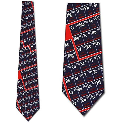 Periodic Table Chemistry Tie Mens Science Neckties by Three Rooker
