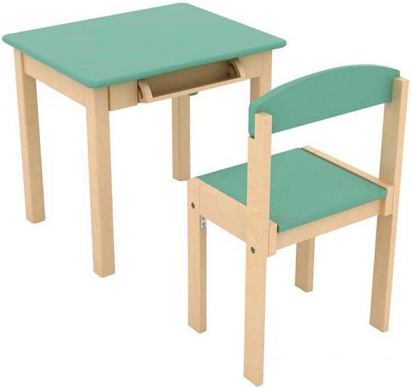 Mesa infantil de madera con rollo de papel y silla - Celadon Green ...