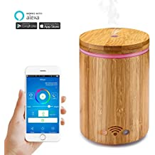 ALLOMN 320ml Cool Mist Humidifier Aroma Essential Oil Diffuser Compatible with Alexa, APP Remote Control, 8 Timer Settings, Auto Shut Off, 7 Color LED Changing for Home Office Study Yoga-Wood Grain