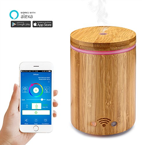 Price comparison product image WiFi Smart Aroma Diffuser – Abedoe Bamboo Ultrasonic Essential Oil Diffuser Humidifier Mist Atomizer APP Remote Control / Voice Control with Colorful LED Light – Work with Alexa (320ml)