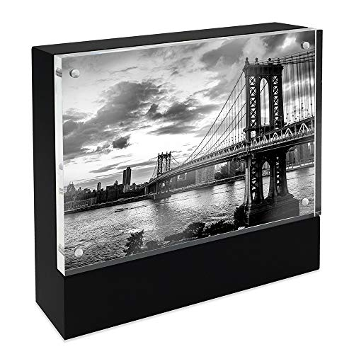 Isaac Jacobs Wood Block Acrylic Picture Frame, 4x6 Black