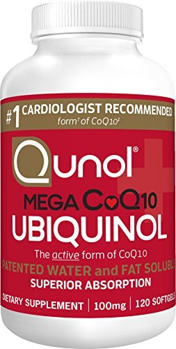 Qunol Mega 100mg CoQ10 Ubiquinol Superior Absorption Patented Water and Fat Soluble Natural Supplement Form of Coenzyme Q10 Antioxidant for Heart Health 120 Count Softgels Discount
