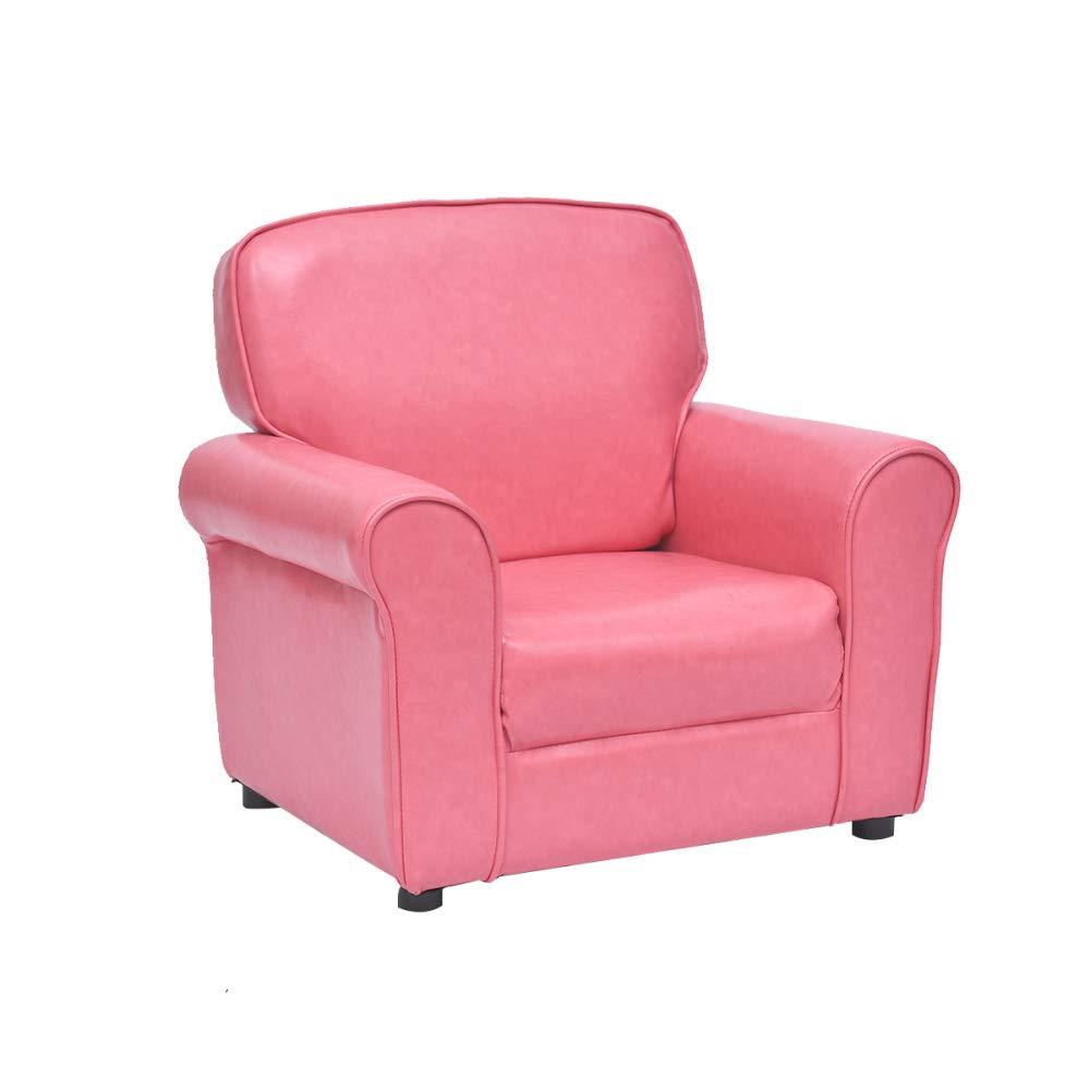 Fusshocker Kleines Sofa Für Kinder Und Erwachsene PU-Leder Hochelastische Schwamm Füllung Rutschfeste Sofa Sicher Und Gesund Holzrahmen,Pink+61 * 45 * 55cm