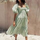 R.Vivimos Women's Summer Cotton Plaid Puff Sleeves