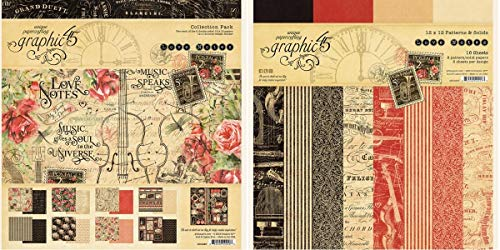 - Graphic 45 - Love Notes Collection Pack and Love Notes Patterns & Solids Paper Pad - 12 x 12 Inch Decorative Papers - 2 Items