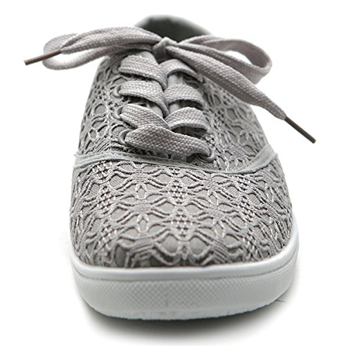 Ollio Mujeres Ballet Shoe Lace Up Sneaker Canvas Flat Gris
