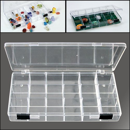 SAFE Rock Collection Box with 18 Compartments & 2 Sliding Latches
