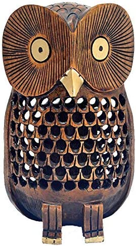 Thanksgiving Decorations Handmade Wood Carved Net Design Modern Home-Office Table Top Decor Javi Rustic Wooden Owl Figurine 6 Inch