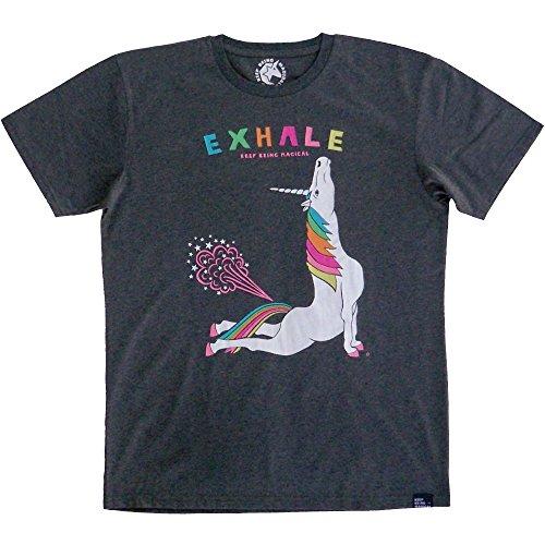 Yoga Unicorn Cobra Pose Exhale Short Sleeve Men's T-Shirt,Heathered Grey,Mens Medium