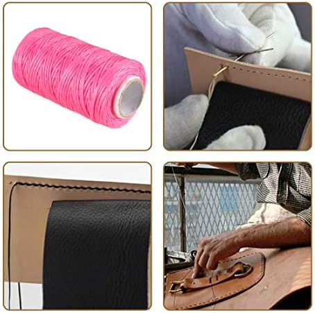 Leather Sewing Stitching Flat Waxed Thread String Cord 150D 1mm 50M, Fuchsia