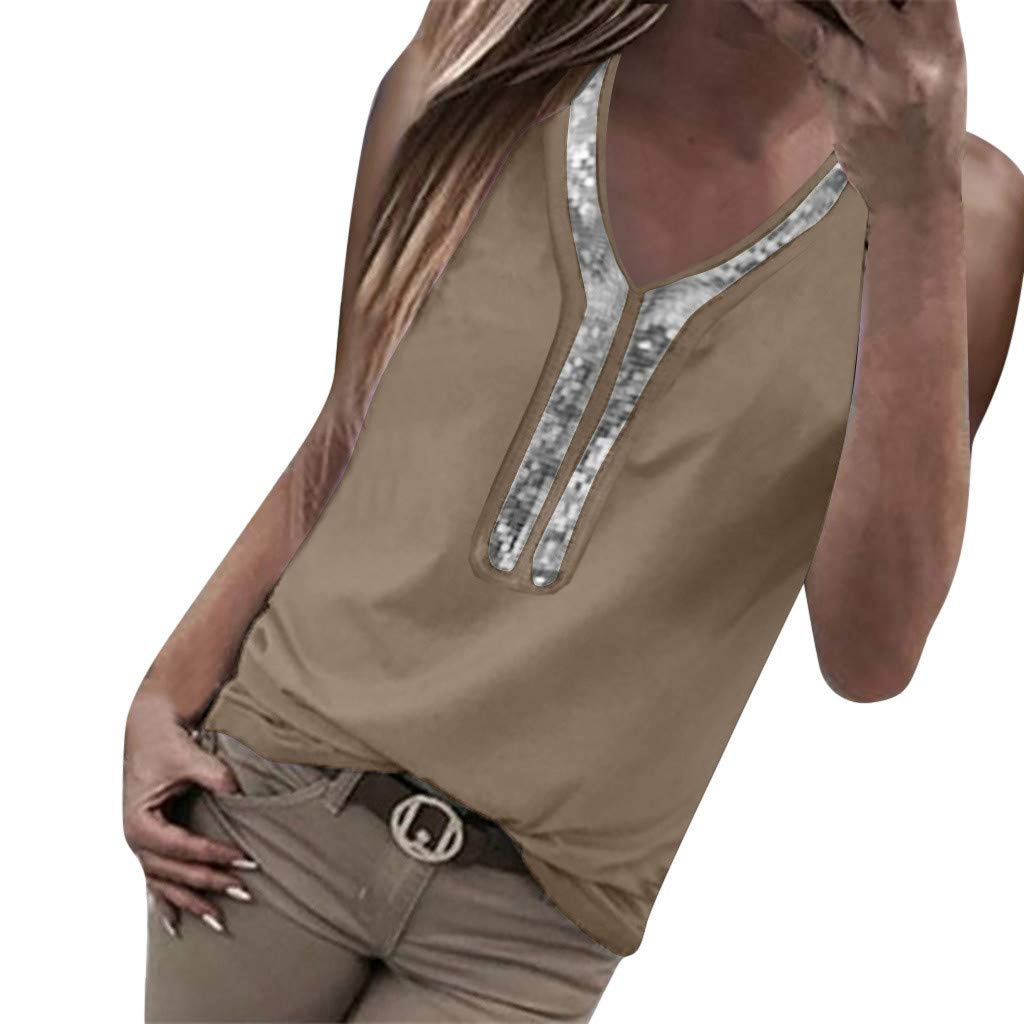 Fashion Tank Tops for Women Sexy Sequins V-Neck Solid Vest Sleeveless Casual Comfy T-Shirt (XXXXXL, Khaki)
