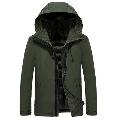 9fdc323fcb5c14 Manadlian Herren Winterjacke Armeegrün Schwarz Mantel Hooded Puffer Jacket