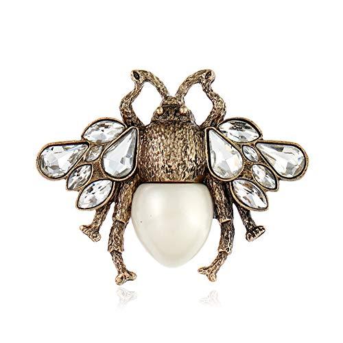 Jomore Womens Retro Vintage Crystal Rhinestone Pearl Bee Brooches Pins (Pearl Bar Pin)